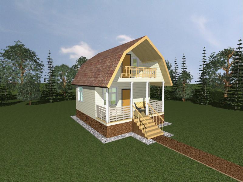 Каркасный дом6х5 с балконом и верандой(ломаная крыша) Ярсовт.