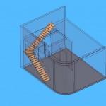лестница зигзаг с поворотом 90 забежная - в доме