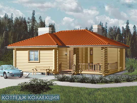 проект дома из оциллиндрованного бревна B - 060 - 1D