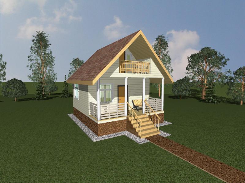 Крыша двухскатная с балконом..